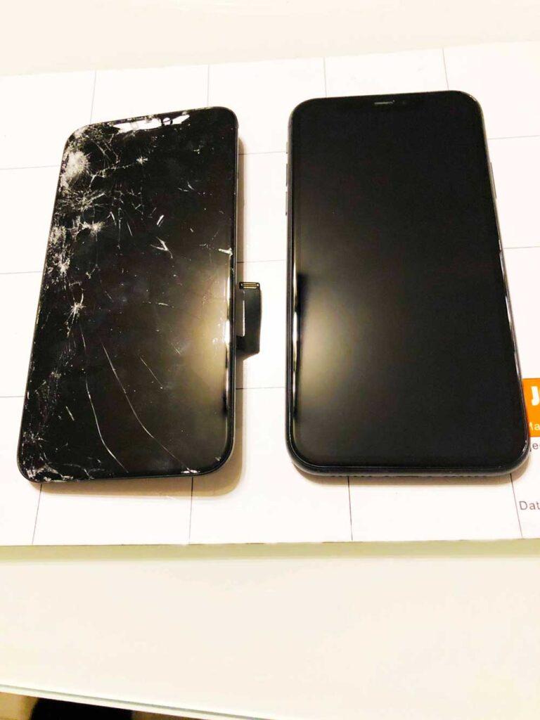 Замена стекла IPhone XS до и после ремонта 25-09-2022