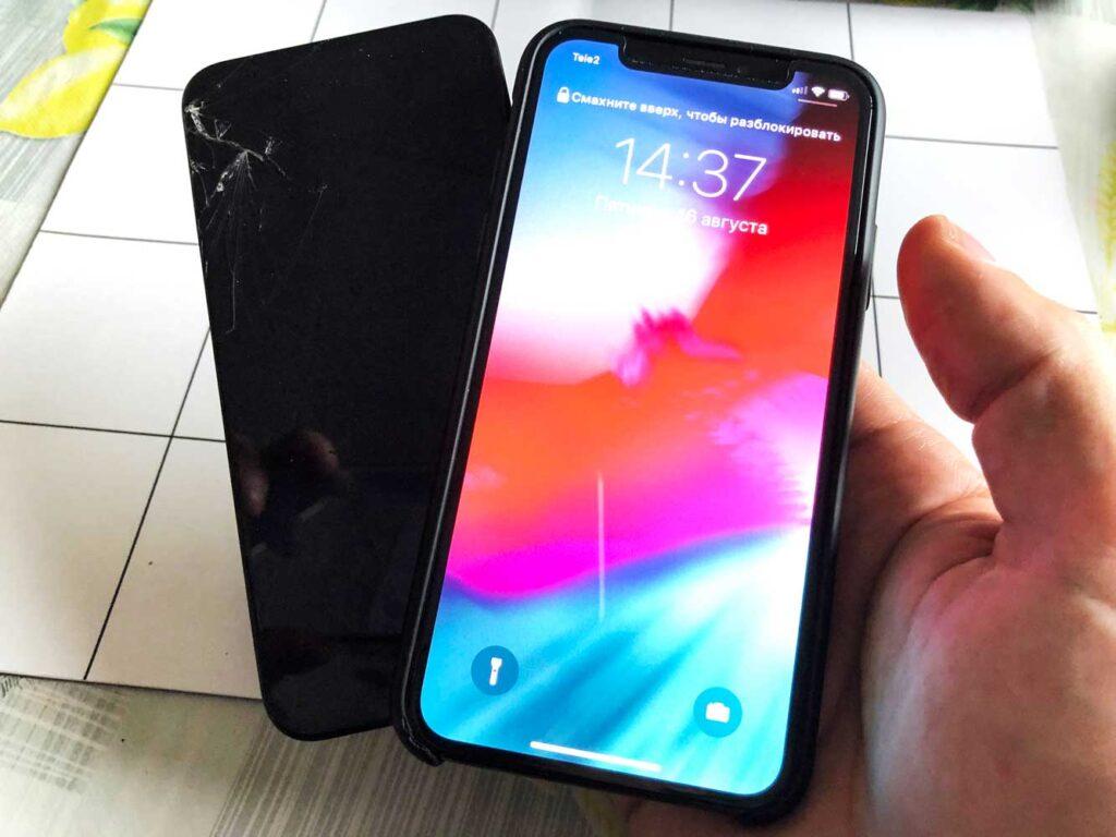 Замена стекла IPhone XS до и после ремонта 25-10-2022