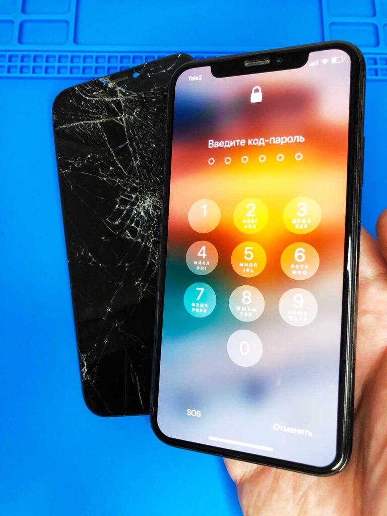 Замена экрана IPhone 11 pro до и после ремонта 25-09-2022
