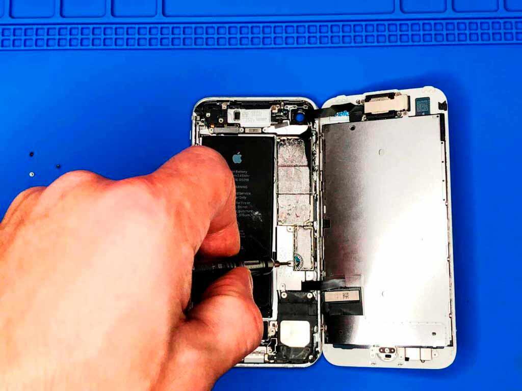 откручиваем внутренние винты IPhone 7