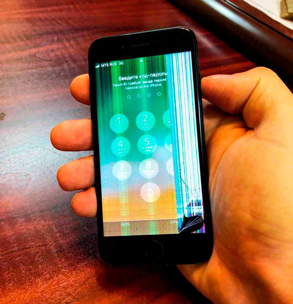 экран iphone 7 с полосами